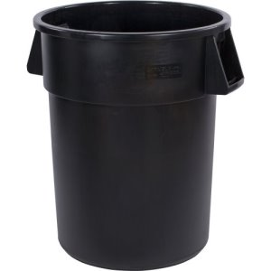 Carlisle Bronco 55 Gallon Round Trash Cans, Black, 2 Cans (34105503)