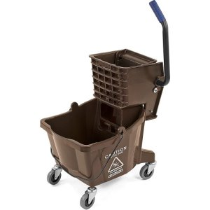 Carlisle 26 Quart Mop Bucket with Side-Press Wringer, Brown (3690869)