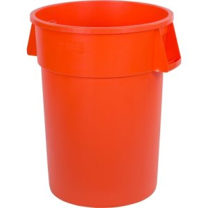 Carlisle Bronco 44 Gallon Round Trash Cans, Orange, 3 Cans (34104424)