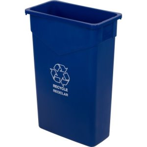 Carlisle TrimLine 23 Gallon Recycle Trash Can, Blue, 4 Cans (342023REC14)