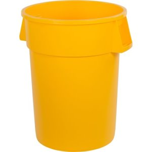 Carlisle Bronco 44 Gallon Round Trash Cans, Yellow, 3 Cans (34104404)