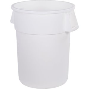Carlisle Bronco 55 Gallon Round Trash Cans, White, 2 Cans (34105502)