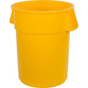 Carlisle Bronco 55 Gallon Round Trash Cans, Yellow, 2 Cans (34105504)