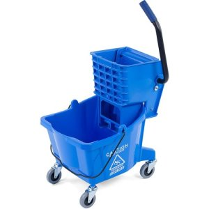 Carlisle FoodService Products Commercial Mop Bucket with Side-Press Wringer 26 Quart - Blue 3690814