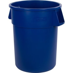Carlisle Bronco 55 Gallon Round Trash Cans, Blue, 2 Cans (34105514)