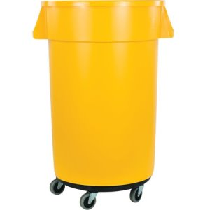 Carlisle Bronco Round Waste Container, Dolly, 32 Gal, Yellow, 4/Case (34113204)