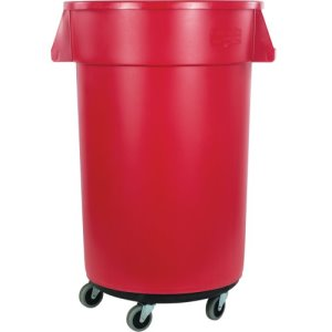 Carlisle Bronco Round Waste Container, Dolly, 32 Gallon, Red, 4/Case (34113205)