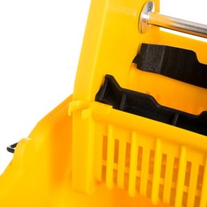 Carlisle 35 Quart Flo-Pac Mop Bucket with Down-Press Wringer, Yellow (3690504)