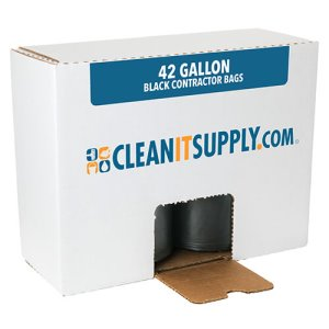 CLEANIT 42 Gallon Black Contractor Bags, 33x48, 3mil, 50 Bags (CIS33483)