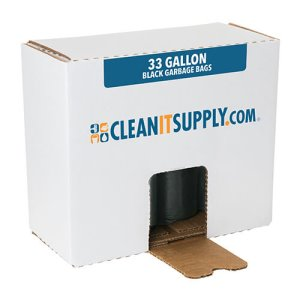 CLEANIT 33 Gallon Black Garbage Bags, 33x39, 1.2mil, 100 Bags (CIS516)