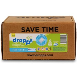 Dropps Mini Detergent 100ct Pac, Scent, Dye + Enzyme-Free (DRP-052721100712)