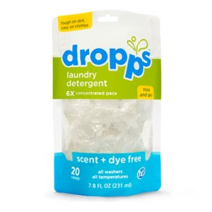 Dropps Laundry Detergent 20ct Pacs, Scent & Dye Free (DRP-052721201211)
