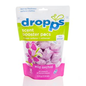 Dropps Scent Booster with In-Wash Softener 16ct Pacs, Wild Orchid, 6 Pouches (DRP-16443)