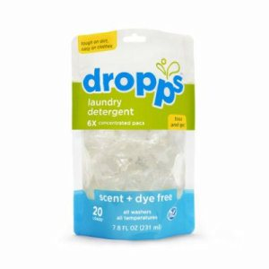 Dropps Laundry Detergent 20ct Pacs, Scent & Dye Free, 6 Pouches (DRP-20121-6)