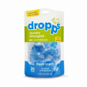 Dropps Laundry Detergent 20ct Pacs, Fresh Scent, 6 Pouches (DRP-20221-6)