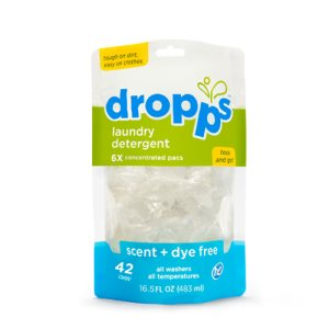 Dropps Laundry Detergent 42ct Pacs, Scent & Dye Free, 6 Pouches (DRP-42121-6)