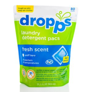 Dropps Laundry Detergent, 80ct Pacs, Fresh Scent, 6 Pouches (DRP-80221)