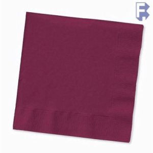 "Converting Inc Burgundy Beverage Napkin - 10"" X 10"" 2 Ply - Burgundy - Retail Pack (12/50), 12/Case (FOR-0238)"