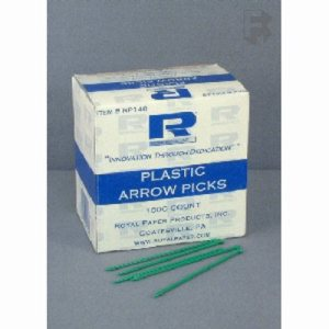 "Royal Paper Products 3-1/2"" Plastic Arrow Picks - Assorted Solid Colors (10/1000), 10000/Case (FOR-0881)"