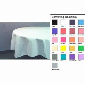 "Converting Inc Ivory 82"" Round Polytissue Tablecover - Ivory - Retail Pack (12/1), 12/Case (FOR-0920)"