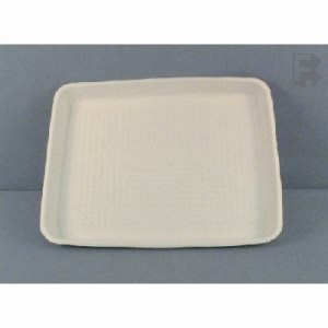 "Huhtamaki/Chinet Flare Savaday Carry Food Tray - 8"" X 10"" X 1"" - White Tray (4/125), 500/Case (FOR-1406)"