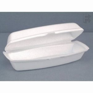 "Pactiv 7.25"" Hot Dog Containers w/Lid, 504 Foam Hot Dog Containers (FOR-3797)"