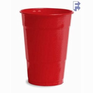 Converting Inc Classic Red 14/16 Oz. Plastic Cup - Red/Real Red - Retail Pack (12/20), 240/Case (FOR-2597)