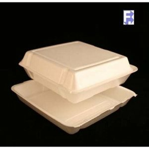 "Dart Container Dart Foam Large 1 Compartment Hinged Lid - 9.5"" X 9.25"" X 3"" White (2/100) (FOR-3067)"