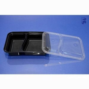 Pactiv 30 Oz. Black 2 Compartment Rectangular Containers - Bases And Lids, 150/Case (FOR-4502)
