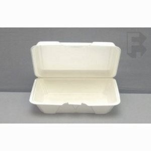 "Genpak Genpak Large Shallow Hinged Lid Container - 9-3/16"" X 6-1/2"" X 2-5/8"" White (2/100), 200/Case (FOR-7455)"