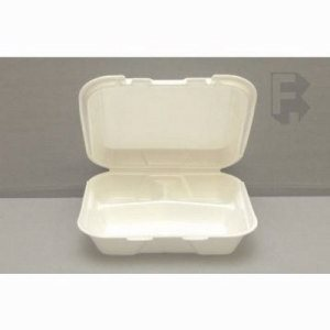 Genpak Small 3 Compartment Foam Food Container, White, 200 Containers (FOR-4514)