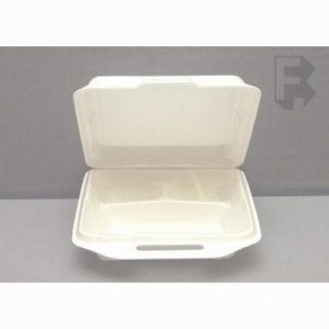 "Genpak Large 3 Compartment Foam Hinged Lid - 9-1/4"" X 9-1/4"" X 3"" White (2/100), 200/Case (FOR-4515)"