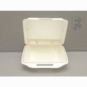 "Genpak Large 1 Compartment Foam Hinged Lid - 9-1/4"" X 9-1/4"" X 3"" White (2/100), 200/Case (FOR-4529)"