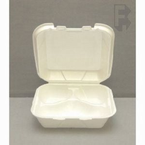 Genpak Medium 3 Compartment Food Containers, White, 200 Containers (FOR-4635)
