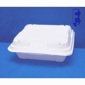 "Genpak Large 1 Compartment Vented Hinged Lid - 9-1/4"" X 9-1/3"" X 3"" White (2/100), 200/Case (FOR-5446)"