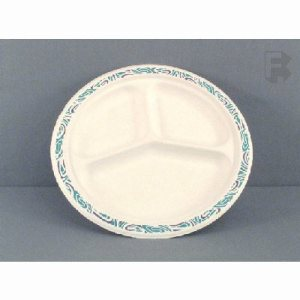 "Huhtamaki/Chinet Ponder 9-1/4"" Round 3 Compartment Chinet Plate - Festival Rim Design (4/125), 500/Case (FOR-6651)"