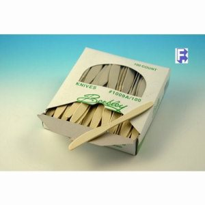 Imported Plastics Almond Boxed Knife 10/100 - Ex Heavy - Full Size - Polystyrene (10/100), 1000/Case (FOR-6994)