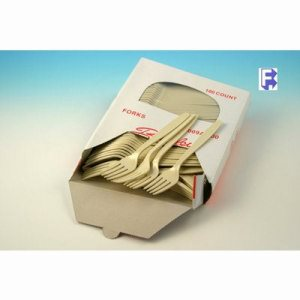 Imported Plastics Almond Boxed Fork 10/100 - Heavy - Full Size - Polystyrene (10/100), 1000/Case (FOR-6995)