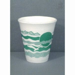 Dart 12 Oz. Foam Cup - Avocado Desgin - Use 12 Series Lid, 1,000 Cups (FOR-7163)