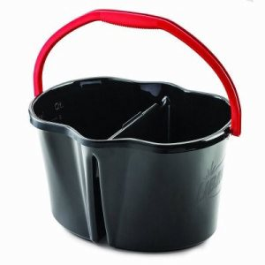 Libman 4 Gallon Bucket, 2 Compartments, Black/Red, 3 Buckets (LIB-01055)