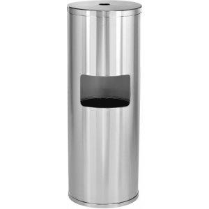 Namco Stainless Steel Wipe Dispenser Stand with Built-In Trash Can (9148SS)