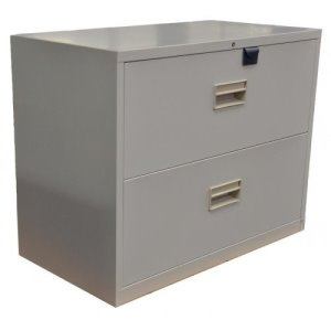 Omcan Lateral File Cabinet With Two Drawers - Legal, Light Gray (21652)