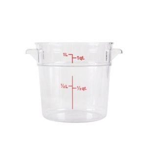 Omcan 1 Qt Polycarbonate Round Food Storage Container, Clear, Each (80208)