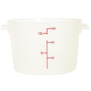 Omcan 12 Qt Round Food Storage Container, Translucent, Each (80233)