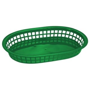 "Omcan Products 10"" X 7"" Plastic Oval Platter, Green, Each (80354)"