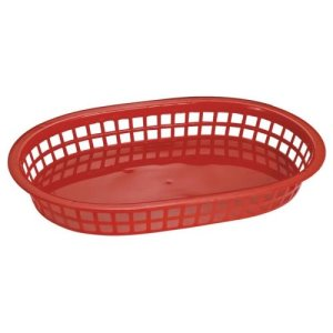 "Omcan Products 10"" X 7"" Plastic Oval Platter, Red, Each (80356)"