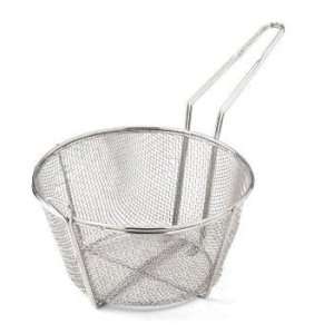 "Omcan 8 1/2"" X 4 1/4"" Round Wire Fry Basket 4 Mesh, 7"" Handle, Each (80383)"