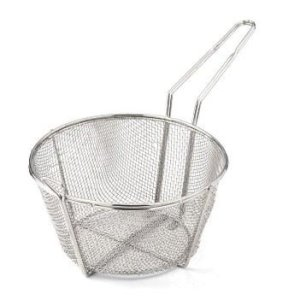 "Omcan 9 1/2"" X 5 3/4"" Round Wire Fry Basket 4 Mesh, 7"" Handle, Each (80384)"