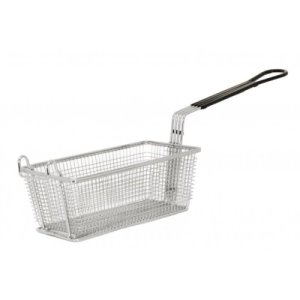Omcan Nickel-Plated Iron Fryer Basket, Black Handle, Each (80553)