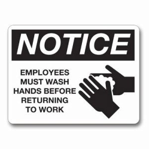 Wash Hands Sign in Metal - Black on White (PFO-IS8001-16)